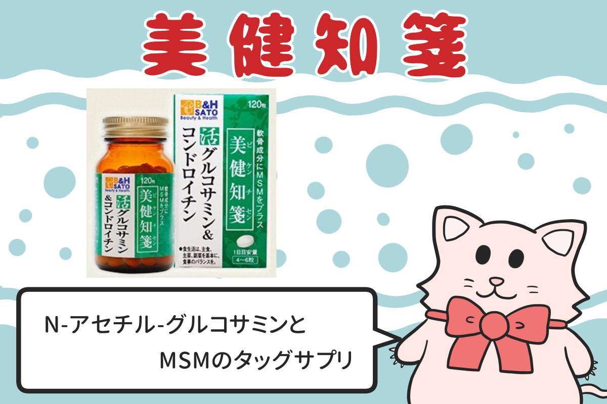 美健知箋 N-アセチルグルコサミンとMSMのタッグサプリ